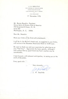 BRIGADIER GENERAL JAMES H. JIMMY DOOLITTLE - TYPED LETTER SIGNED 11/17/1976