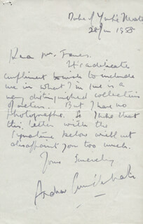 ANDREW CRUICKSHANK - AUTOGRAPH LETTER SIGNED 06/28/1958