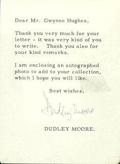 DUDLEY MOORE - TYPED LETTER SIGNED