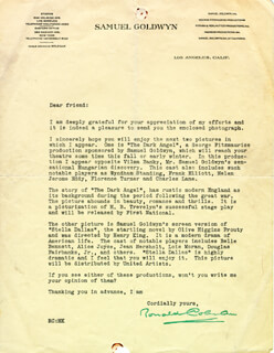 RONALD COLMAN - TYPED LETTER SIGNED