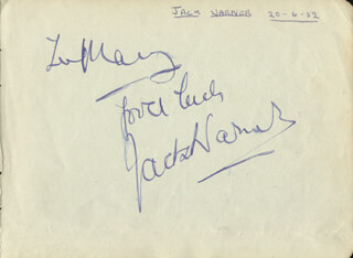 JACK WARNER - INSCRIBED SIGNATURE CIRCA 1952 CO-SIGNED BY: GRIFFITH JONES