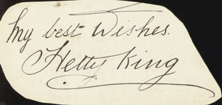 HETTY KING - AUTOGRAPH SENTIMENT SIGNED CO-SIGNED BY: ERNEST EGGLETON