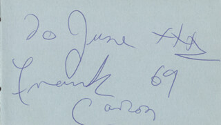 FRANK CARSON - AUTOGRAPH NOTE SIGNED 1969