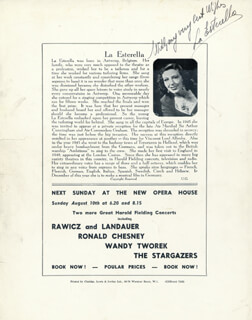 Autographs: LA ESTERELLA - PROGRAM SIGNED CIRCA 1952 CO-SIGNED BY: THE PETERSEN BROTHERS , EVE BOSWELL