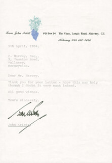 JOHN ARLOTT - TYPED LETTER SIGNED 04/05/1984