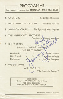 JIMMY JAMES - PROGRAM PAGE SIGNED CO-SIGNED BY: DONALD PEERS