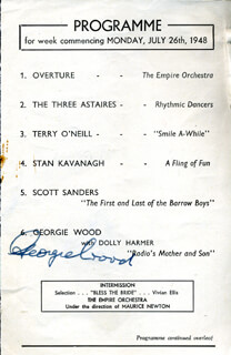 DOROTHY SQUIRES - PROGRAM SIGNED CIRCA 1948 CO-SIGNED BY: GEORGIE WOOD, BILLY REID