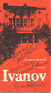 Autographs: IVANOV PLAY CAST - PROGRAM SIGNED CIRCA 1978 CO-SIGNED BY: SIR DEREK JACOBI, BRENDA BRUCE, MICHAEL DENISON