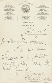 PHYLLIS DARE - AUTOGRAPH LETTER SIGNED 10/15