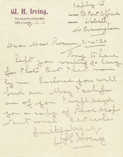 W. H. IRVING - AUTOGRAPH LETTER SIGNED 04/01/1920