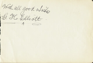 G. H. (GEORGE HENRY) ELLIOTT - AUTOGRAPH SENTIMENT SIGNED