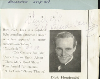 DICK DICKIE HENDERSON - BIOGRAPHY SIGNED 08/07/1949
