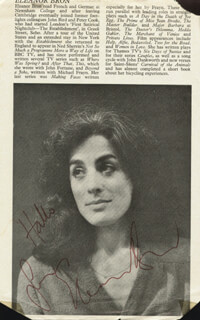 ELEANOR BRON - BIOGRAPHY SIGNED CO-SIGNED BY: IRENE HANDL
