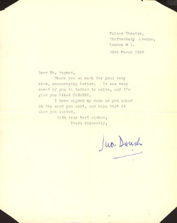 DAME JUDI DENCH - TYPED LETTER SIGNED 03/29/1968