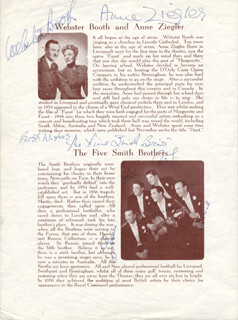 ZIEGLER & BOOTH (WEBSTER BOOTH) - PROGRAM SIGNED CIRCA 1952 CO-SIGNED BY: ZIEGLER & BOOTH (ANNE ZIEGLER), THE FIVE SMITH BROTHERS (ALF SMITH), THE FIVE SMITH BROTHERS (HAROLD SMITH), THE FIVE SMITH BROTHERS (RONNIE CULBERTSON), THE FIVE SMITH BROTHERS (STAN SMITH), THE FIVE SMITH BROTHERS (ROY SMITH), THE FIVE SMITH BROTHERS
