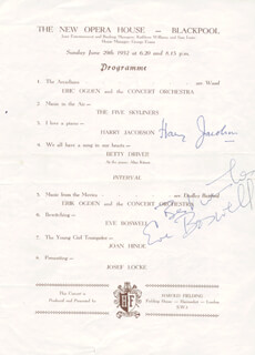 EVE BOSWELL - PROGRAM SIGNED CIRCA 1952 CO-SIGNED BY: HARRY JACOBSON, JOSEF LOCKE, BETTY DRIVER