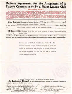 EDDIE COLLINS - CONTRACT SIGNED 04/10/1937 CO-SIGNED BY: ROY L. THOMPSON