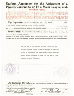 EDDIE COLLINS - CONTRACT SIGNED 07/05/1938 CO-SIGNED BY: E. F. KIRSCHNER