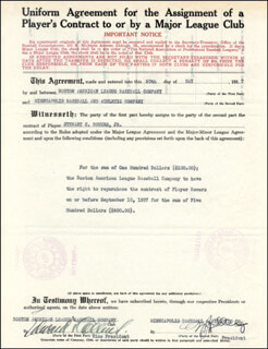 EDDIE COLLINS - CONTRACT SIGNED 05/20/1937