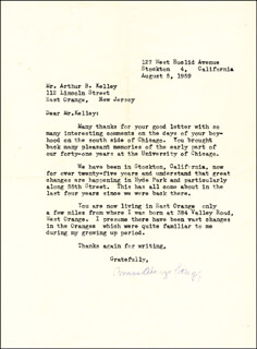 AMOS ALONZO STAGG - TYPED LETTER SIGNED 08/05/1959  - HFSID 147171