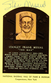 STAN THE MAN MUSIAL - BASEBALL HALL OF FAME PLAQUE POSTCARD SIGNED