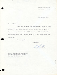 GENERAL DOUGLAS MACARTHUR - TYPED LETTER SIGNED 01/19/1955