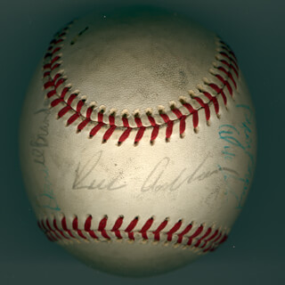 THE PHILADELPHIA PHILLIES - AUTOGRAPHED SIGNED BASEBALL CIRCA 1971 CO-SIGNED BY: DON MONEY, OSCAR GAMBLE, TERRY HARMON, RICHIE WHITEY ASHBURN, BYRON BROWNE, BUCKY (DARRELL) BRANDON, LARRY BOWA - HFSID 147328