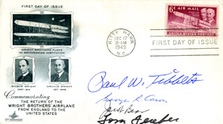 ENOLA GAY CREW - FIRST DAY COVER SIGNED CO-SIGNED BY: ENOLA GAY CREW (JACOB BESER), ENOLA GAY CREW (GEORGE R. CARON), ENOLA GAY CREW (PAUL W. TIBBETS), ENOLA GAY CREW (COLONEL THOMAS W. FEREBEE)