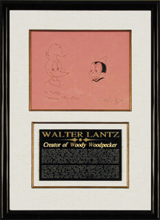 WALTER LANTZ - INSCRIBED ORIGINAL ART SIGNED CIRCA 1988