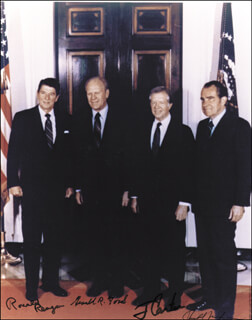 THE FOUR PRESIDENTS - AUTOGRAPHED SIGNED PHOTOGRAPH CO-SIGNED BY: PRESIDENT JAMES E. JIMMY CARTER, PRESIDENT RONALD REAGAN, PRESIDENT RICHARD M. NIXON, PRESIDENT GERALD R. FORD