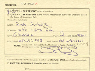 RICK BAKER - DOCUMENT SIGNED