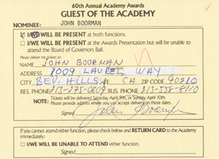 JOHN BOORMAN - ANNOTATED DOCUMENT SIGNED