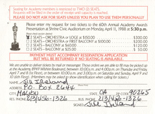 JILL IRELAND - TICKET SIGNED CIRCA 1988
