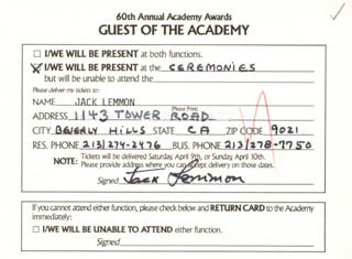 JACK LEMMON - AUTOGRAPH DOCUMENT SIGNED