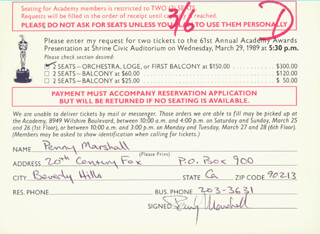 PENNY MARSHALL - DOCUMENT SIGNED CIRCA 1989