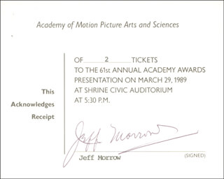 JEFF MORROW - RECEIPT SIGNED CIRCA 1989
