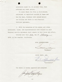 GEORGE KENNEDY - CONTRACT SIGNED 02/27/1978