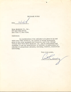 ART CARNEY - DOCUMENT SIGNED 10/14/1958
