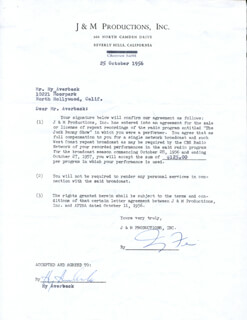 Autographs: HY AVERBACK - DOCUMENT SIGNED 10/25/1956