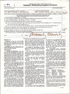 ROSEMARY CLOONEY - DOCUMENT SIGNED