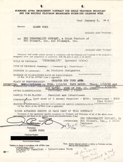 Autographs: GLENN FORD - CONTRACT SIGNED 01/09/1968 CO-SIGNED BY: BOB STEWART