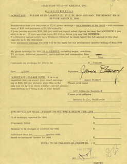 JAMES JIMMY STEWART - DOCUMENT SIGNED