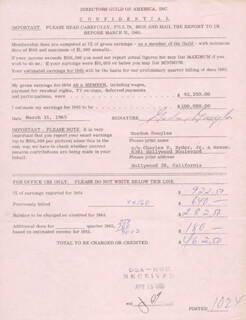 GORDON DOUGLAS - DOCUMENT SIGNED 03/31/1965