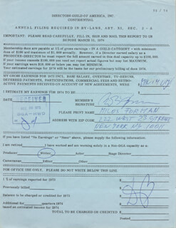 MILOS FORMAN - DOCUMENT SIGNED CIRCA 1973
