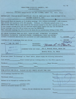 HOWARD W. HAWKS - DOCUMENT SIGNED 01/15/1975
