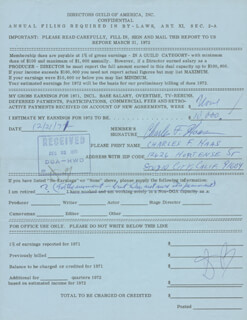 Autographs: CHARLES F. HAAS - ANNOTATED DOCUMENT SIGNED 12/21/1971