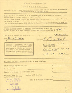 L. VIRGIL HART - ANNOTATED DOCUMENT SIGNED 01/19/1962