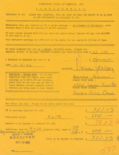 NORMAN JEWISON - DOCUMENT SIGNED 10/02/1962