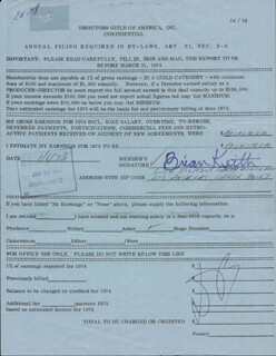 BRIAN KEITH - DOCUMENT SIGNED 01/06/1975