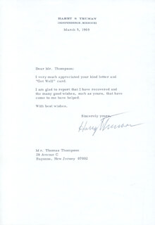 PRESIDENT HARRY S TRUMAN - TYPED LETTER SIGNED 03/05/1969